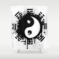 yin yang Shower Curtains featuring Yin Yang by Emir Simsek