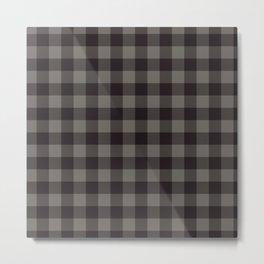 Buffalo Plaid Rustic Lumberjack Black And Gray Check Pattern Metal Print