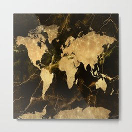 world map marble 5 Metal Print