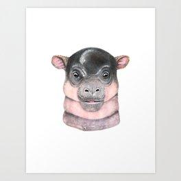 Baby Pygmy Hippo Art Print
