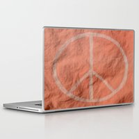 tote bag Laptop & iPad Skins featuring Peach Peace Sign (Bag Art) by AriesArtNW.com