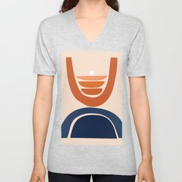 Abstract Shapes 8 in Burnt Orange and Navy Blue Unisex V-Neck