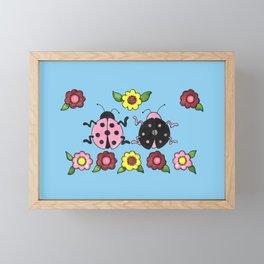 Ladybugs in Pink & Black Framed Mini Art Print