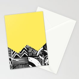 Lemon lino bright Stationery Cards