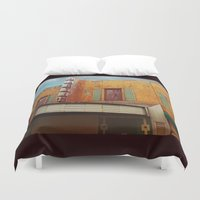 theater Duvet Covers featuring The Crumbling Martin Theater by Little Bunny Sunshine