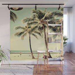 Retro Vintage Palm Tree with Hawaii Summer Sea Beach Wall Mural
