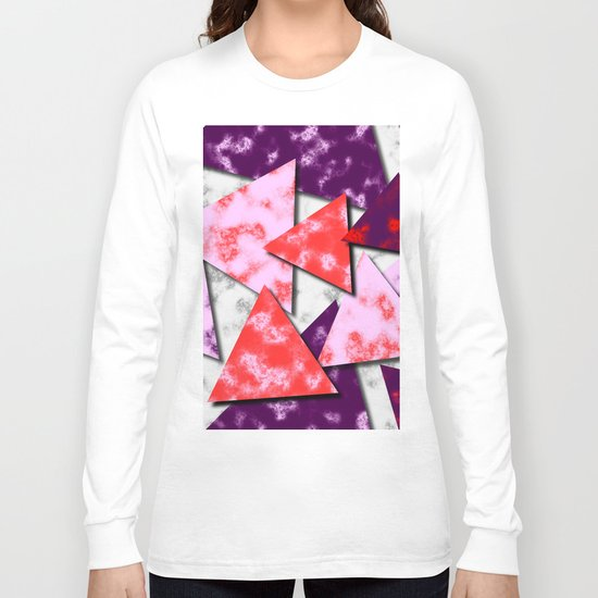 Triangles Layered Pattern in Red Purple and Pink Long Sleeve T-shirt