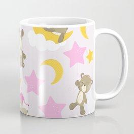 Pattern Of Cute Bears, Brown Bears, Pink Stars Coffee Mug
