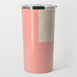 Simply Geometric White Gold Sands on Salmon Pink Travel Mug
