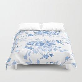 Modern navy blue white watercolor elegant floral Duvet Cover