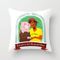 vegan Throw Pillows featuring Vegan by Bakal Evgeny