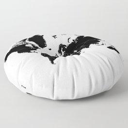 Minimalist World Map Black on White Background Floor Pillow