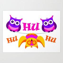 Triolium - owl party Art Print