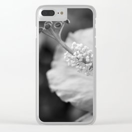Hybiscus in Black and White Clear iPhone Case