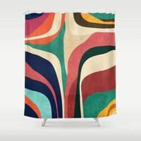 map Shower Curtains featuring Impossible contour map by Picomodi