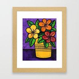 Whimsical Impatien Flowers Framed Art Print