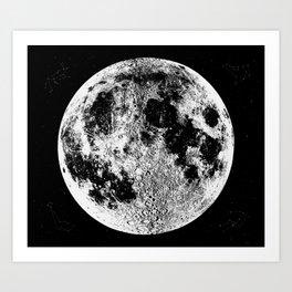 Black + White Full Moon, print by Christy Nyboer Art Print