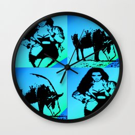 Kimmie with Pig blue Wall Clock