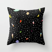 outer space Throw Pillows featuring OUTER SPACE by DRAWDEALER