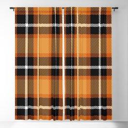 Orange + Black Plaid Blackout Curtain