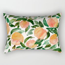 GEORGIA PEACHES Watercolor Peach Print Rectangular Pillow