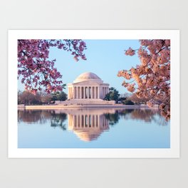 Cherry Blossoms at Jefferson Memorial in Washington DC Art Print