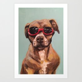 Doggles, the dog who wears goggles Art Print