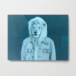 Lion Man Blue Metal Print
