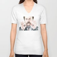 swanson V-neck T-shirts featuring Swanson Mustache by Olechka
