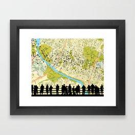 Austin Bats Congress Bridge flying - Austin Map Background Framed Art Print
