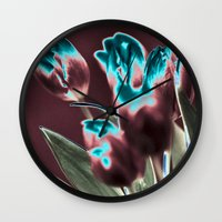 popart Wall Clocks featuring TULIPS - BROWN-BLUE - Popart by CAPTAINSILVA