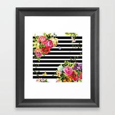Stripes Floral Framed Art Print