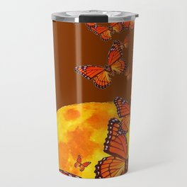 MONARCH BUTTERFLIES GOLDEN MOON BROWN FANTASY Travel Mug