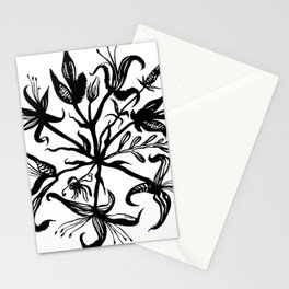 Black bouquet Stationery Cards