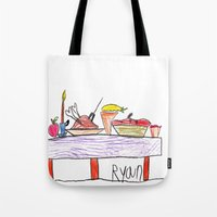 thanksgiving Tote Bags featuring Thanksgiving Feast by Ryan van Gogh