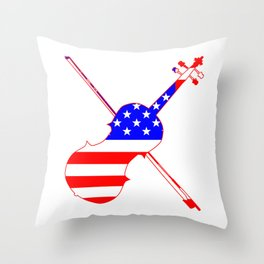 Stars And Stripes Fiddle Silhouette Throw Pillow