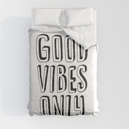Good Vibes Only black-white contemporary minimalist typography poster home wall decor bedroom Comforters