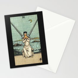 TWO OF SWORDS / BLACK Stationery Cards
