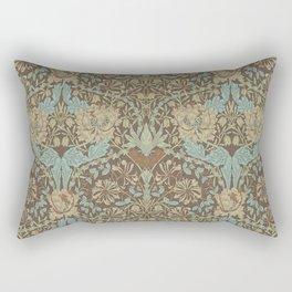 William Morris Vintage Honeysuckle & Tulip Taupe Blue Floral Rectangular Pillow