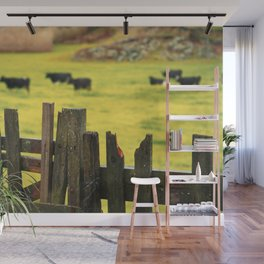 Pasture, fence and cows Wall Mural