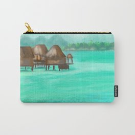 Painterly over the water bungalows in French Polynesia  Carry-All Pouch