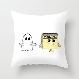 """Unique Tee For Kids And Adults """"Scariest Things As A Kid Ghost As An Adult Monday"""" T-shirt Design Throw Pillow"""
