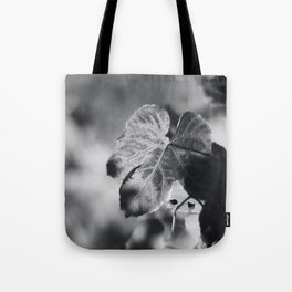 Autumn Grape Leaf in Black and White Tote Bag