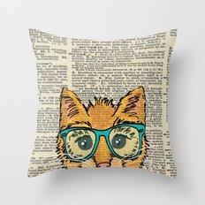 Orange Kitty Cat Throw Pillow