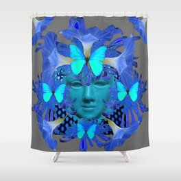 BLUE MORNING GLORIES BUTTERFLY MASQUERADE DESIGN Shower Curtain