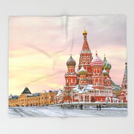 Snowy St. Basil's Cathedral Throw Blanket