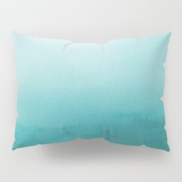 Aqua Teal Turquoise Watercolor Ombre Gradient Blend Abstract Art - Aquarium SW 6767 Pillow Sham