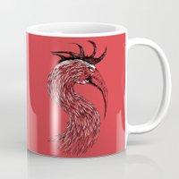 fierce Mugs featuring Fierce Raptor by Michal Malacek