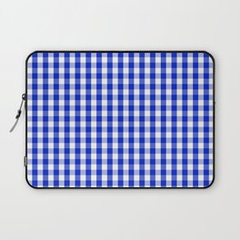 Cobalt Blue and White Gingham Check Plaid Squared Pattern Laptop Sleeve