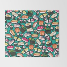 Sushi Aqua Throw Blanket